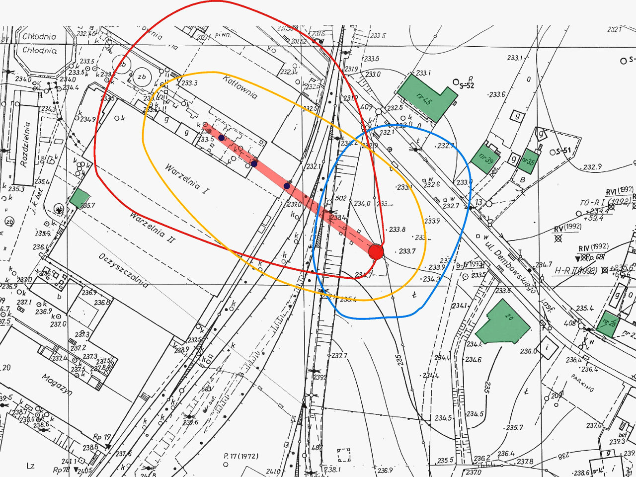 Plan sytuacyjny wokół komina