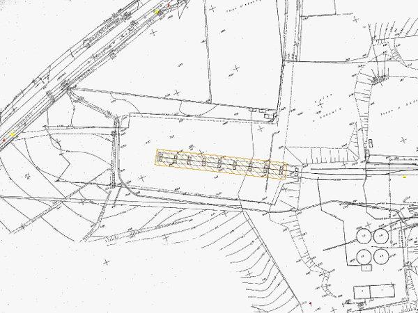 Mapa terenu wraz z zaznaczonym mostem do rozbiórki