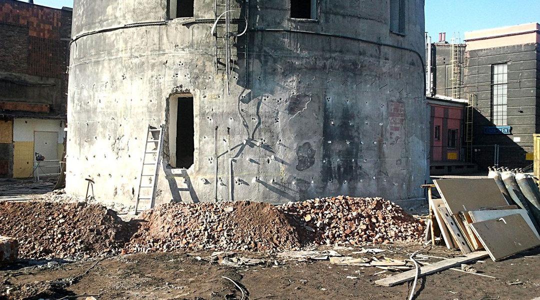 Otwory strzałowe w kominie żelbetowym