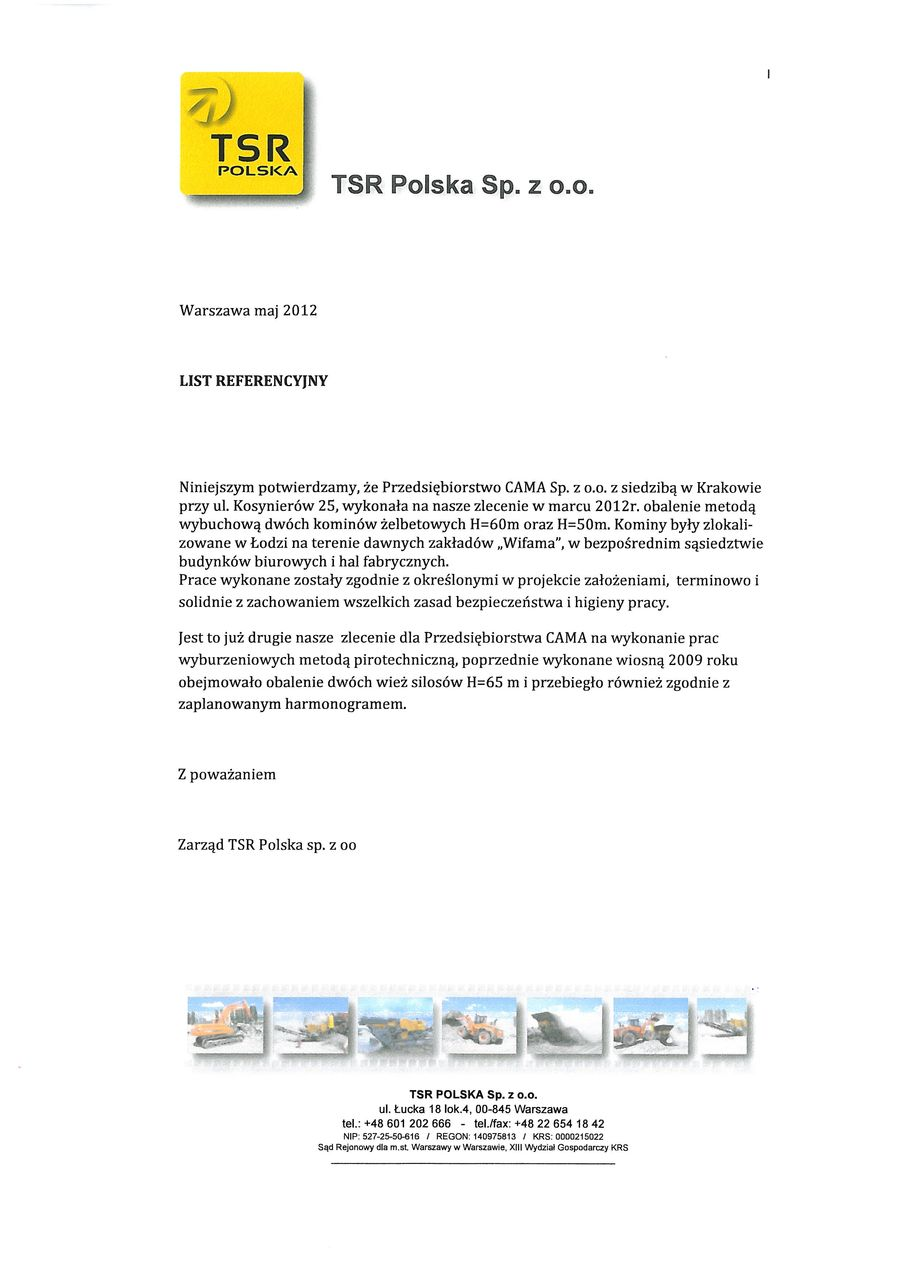 List referencyjny TSR Polska