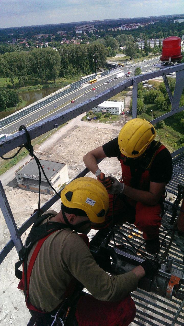 Komin-Łódź-prace na wysokosci